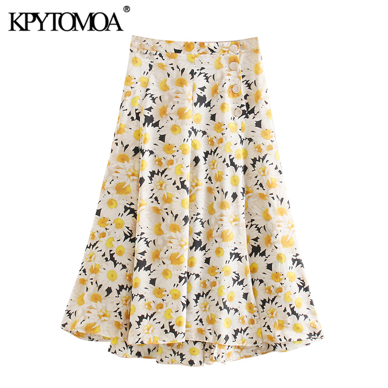 KPYTOMOA Women 2020 Chic Fashion Floral Print Buttoned Skirt Vintage Elastic Waist A Line Slit Female Skirts Casual Faldas Mujer