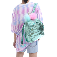 Girl PU Hologram Unicorn Backpack With Fur Student Big Preppy Style Schoolbag Women Travel Bag Teenager Large Capacity Laser Bag недорого