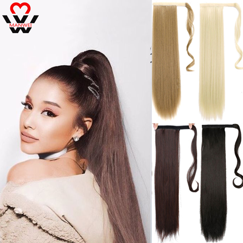Long Hairpiece Ponytail Hair Extensions Clip In Hair Extension Natural Afro Straight Drawstring Ponytail Synthetic MANWEI