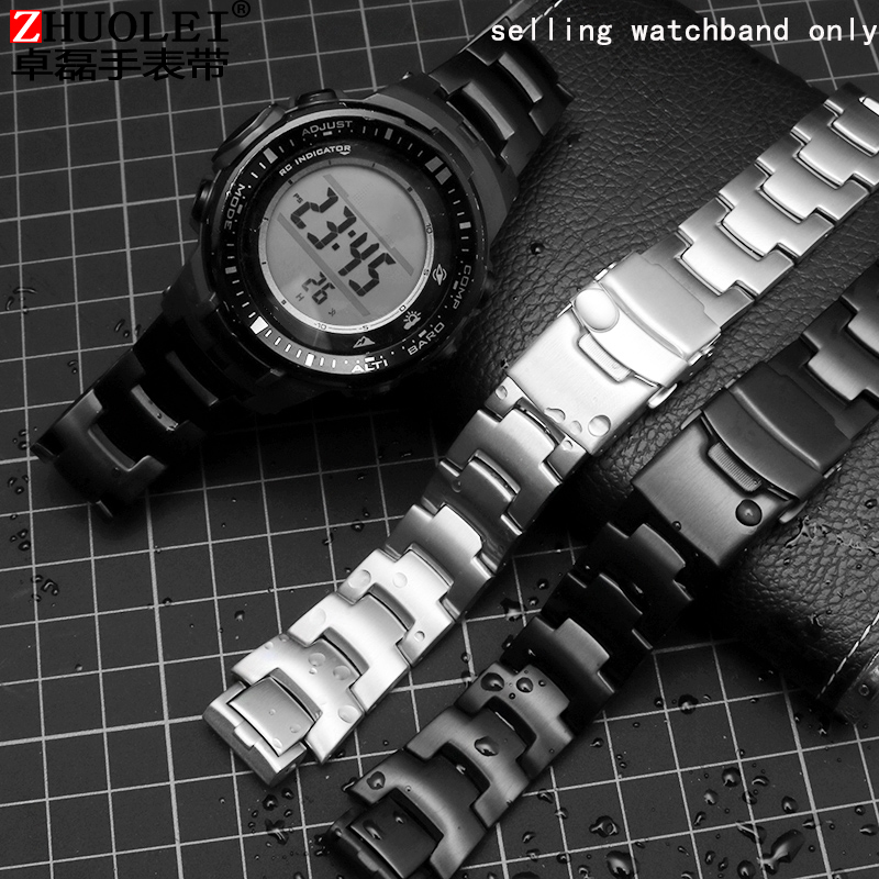 24*16mm Stainless Steel Watch With Butterfly Clasp For  Prw-3000 / 3100 / 6000 / 6100 / Prg-300 Series Men's Watch