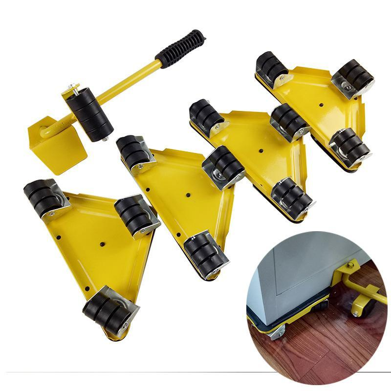 5PC Quality Portable Triangle iron mover Furniture Lifter Moves Wheels Mover Sliders Kit 880 lbs Tool