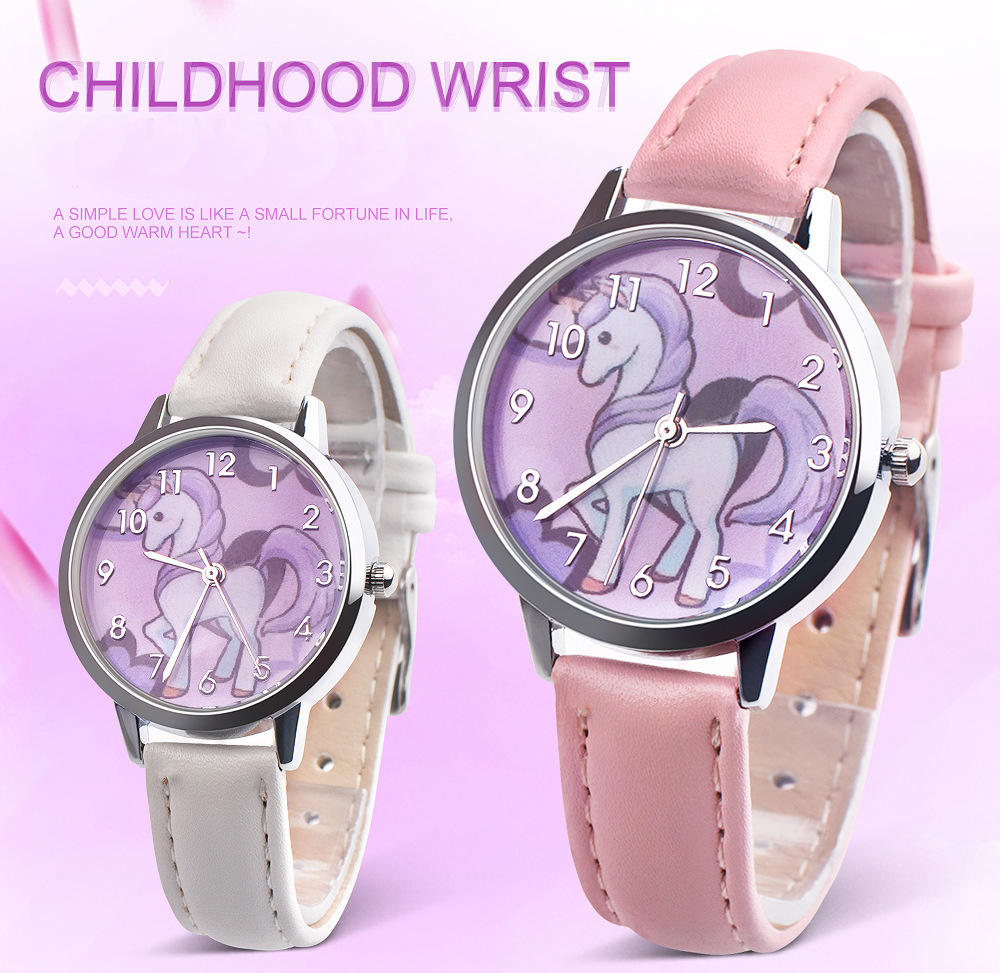 UTHAI CQ17 Kids watches for girls quartz wrist watch child Girl clock Cartoon horse Beast