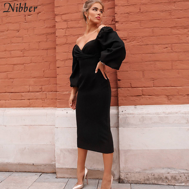Nibber sexy pure V Neck off shoulder bodycon dress women autumn winter club party night red Elegant midi dress Mujer black dress 3