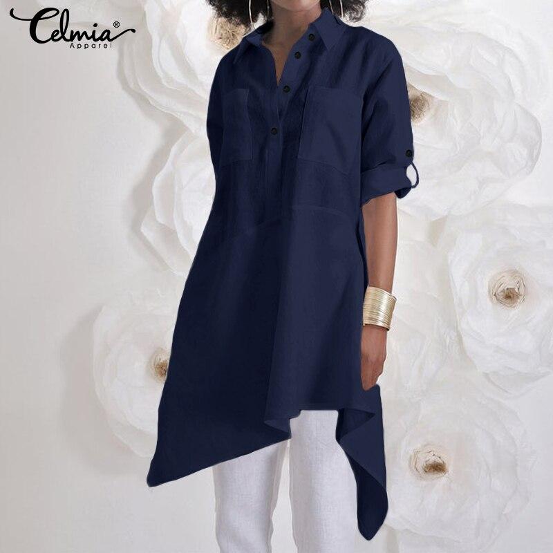 Asymmetrical Tops Fashion Women Long Blouses 2019 Celmia Buttons Casual Shirt Losoe Long Sleeve Tunic Blusas Femininas Plus Size