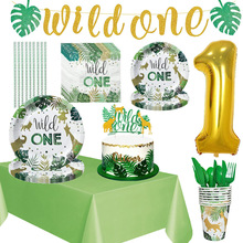 Wild One Birthday Decorations Forest Party Supplies Plates Napkins Cups Balloons 1st Safari Birthday Decorations Tableware Set