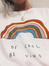 Wit Worden Cool Worden Soort Regenboog Kawaii Tee Shirt Unisex Harajuku Mode Esthetische Korte Mouwen Oversize Casual Tumblr T-shirt nieuwe