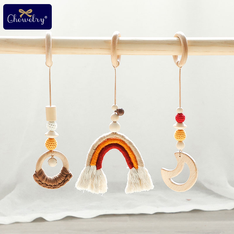 3pc/set Baby Teether Bell Play Gym Toy Rainbow Wooden Moon Pandent Crochet Beads Natural Wooden Ring Nurse Gift DIY Crafts Toys
