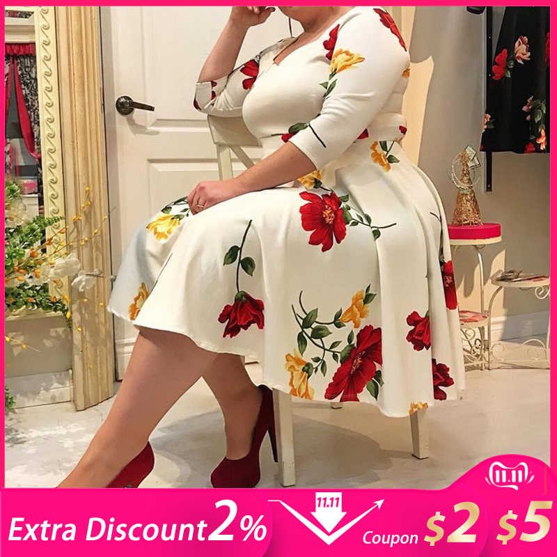 Plus Size Dress 5XL Women Floral Printed 1/2 Half Sleeve V neck Sexy White midi Dress robe femme office Lady vestidos