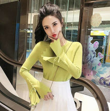 Autumn Womens Flare Sleeve Pullover Slim Jumper Knit Sweater Knitwear Blouse Top