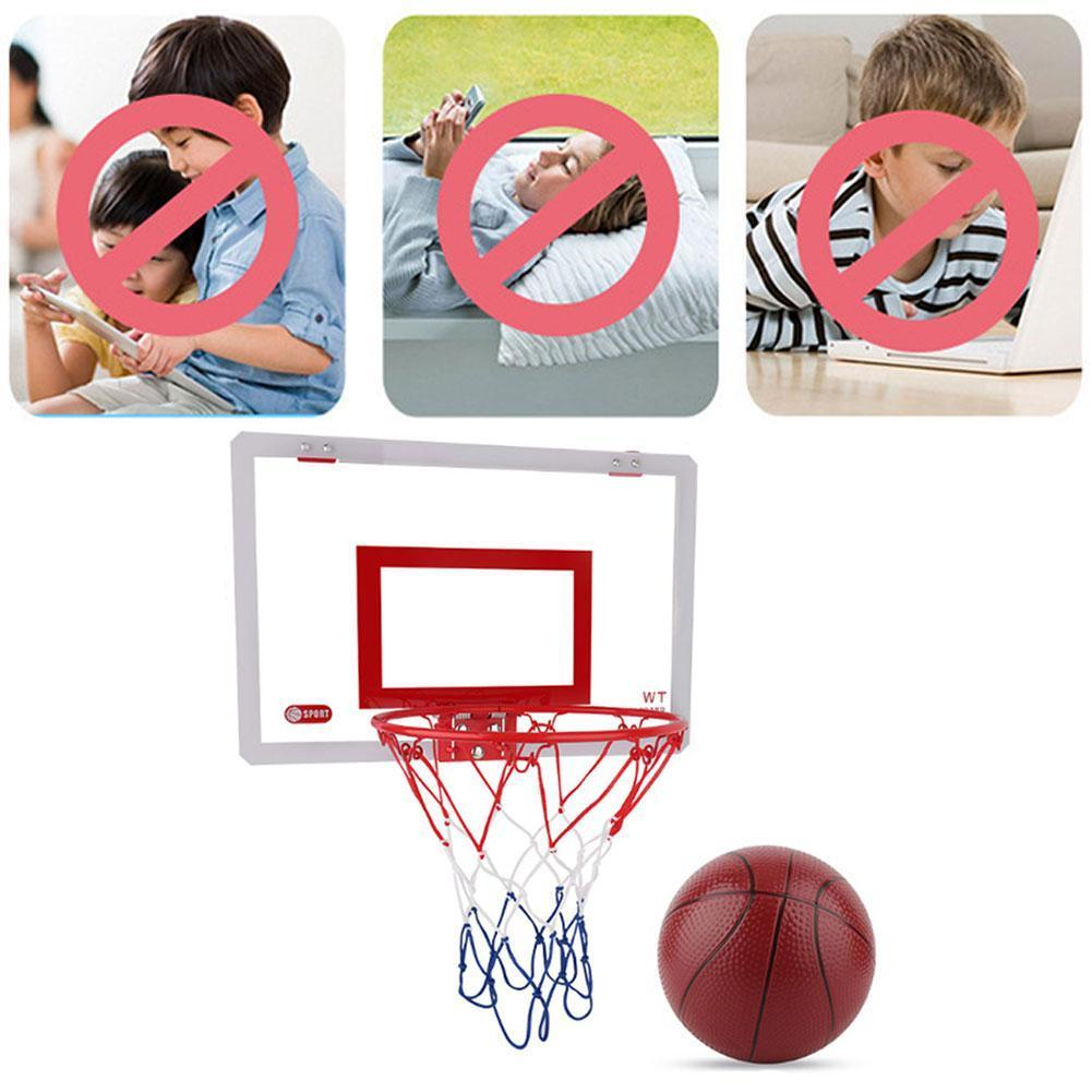 Basketball Hoop Set With Ball Steel Rim Shatterproof Backboard Indoor Mini Children Wall Toy Hanging Sports Punch Free Rebo F4A3