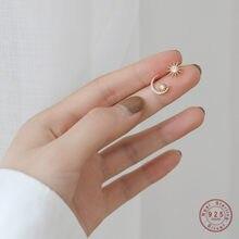 925 Sterling Zilver 14K Gold Zon Maan Asymmetrische Stud Oorbellen Vrouwen Prachtige Zoete Student Sieraden Vriendin Gift