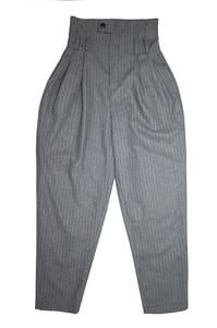 Image 4 - Aigyptos 秋冬の女性のウールパンツ女性ヴィンテージイングランドスタイルのストライプスリムスキニーパンツカジュアルアンクル長ウールのズボン