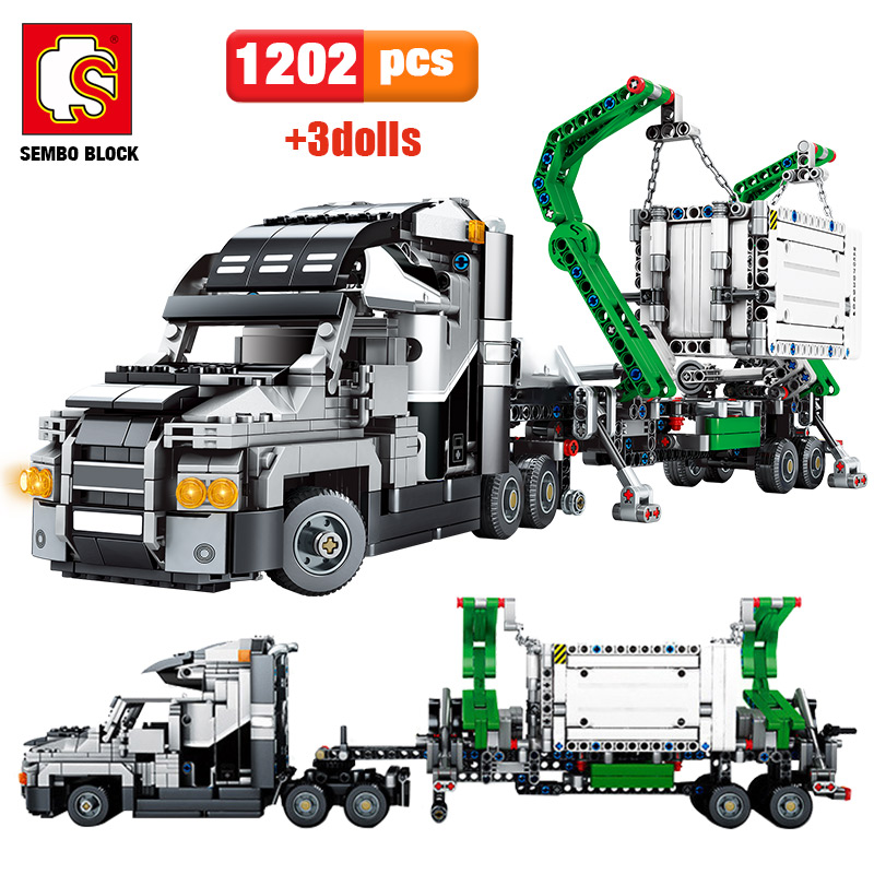 1202pcs City Big Truck Engineering Buiding Blocks Legoing Technic Mark Container Vehicles Car Figures Bricks Toys For Children