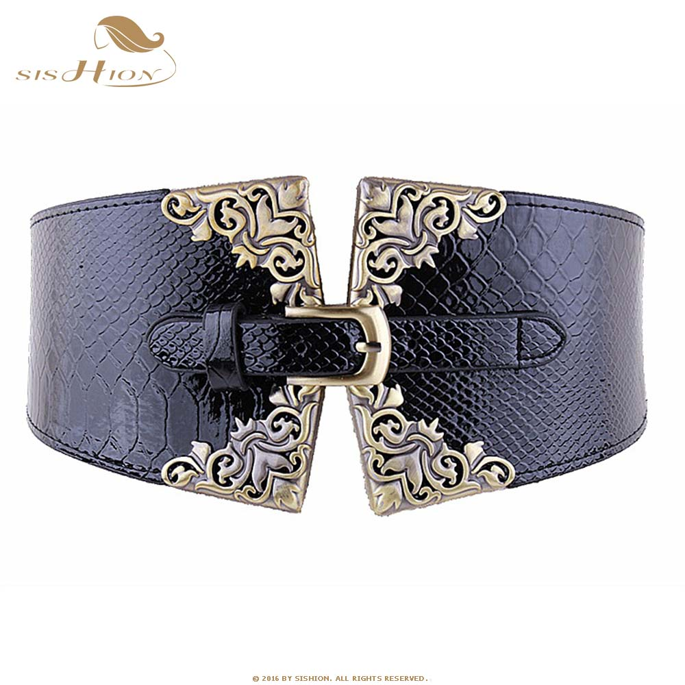 SISHION Ladies Women Elastic Waistband Faux Leather Wide Waist Belt Retro Black Red QY0312 2019 New Cummerbunds