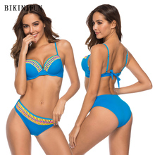 купить New Sexy Solid Contrast Color Bikini Women Swimsuit Print Bordered Patchwork Swimwear 38-44 Girl Underwire Two Piece Bikini Set дешево