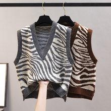 V-Neck Knitted Vest Women New Korean Fashion Zebra Pattern Sleeveless Sweaters Waistcoat for Outwear Spring Autumn 2021