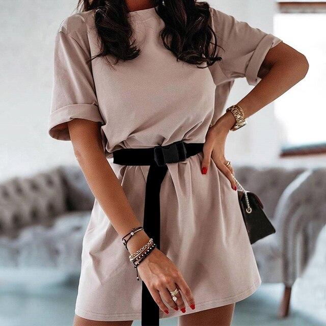 NEDEINS Summer Dress Women Solid Color Dress Casual Loose Dresses Summer Fashion Dress 2020 including Belt 1