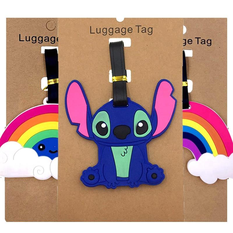 Cartoon Stitch Rainbow Luggage Tags Suitcase ID Addres Holder Portable Label Silica Gel Baggage Boarding Travel Accessories