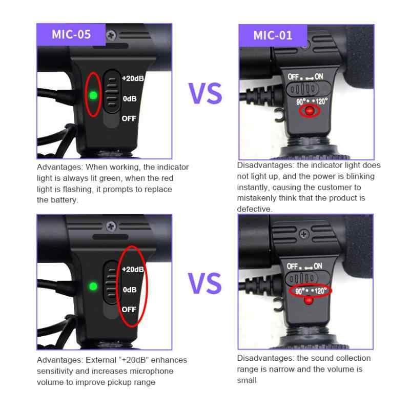 Hifi HD звук 3,5 мм Jack микрофон гиперкардиоидная камера видео Открытый ПК записывающий микрофон профессиональный микрофон для интервью MIC-05