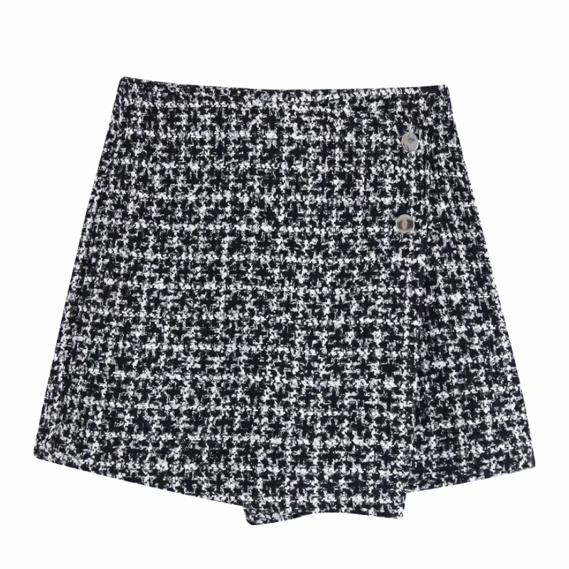 New Women Vintage Houndstooth Plaid Pattern Woolen Shorts Ladies Retro Buttons Decoration Casual Zipper Pantalones Cortos P590