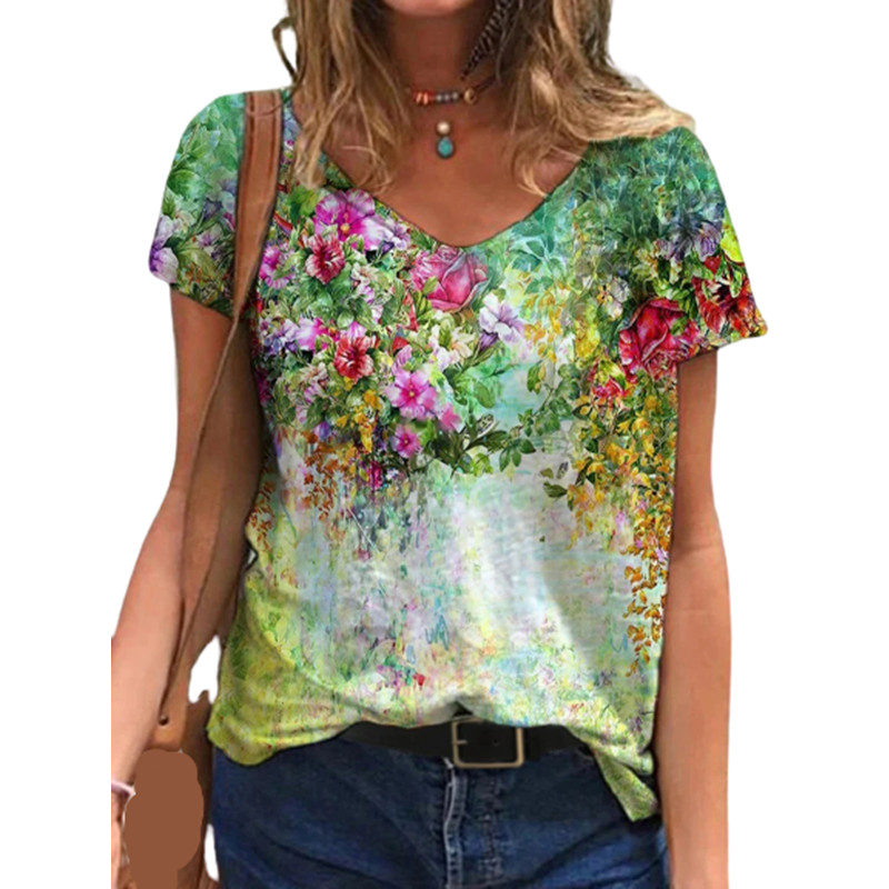 Women Clothes Flower Print Short Sleeve Tshirt Floral Printed Women Shirt T Female T-shirt Top Casual Woman Tee