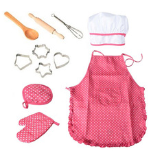 Apron Chef-Costume Dress-Up Cooking-Baking-Set Little-Girls Kids Toddler for Mitt