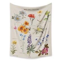 Настенный гобелен с изображением диких цветов в стиле хиппи