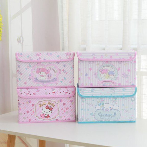 Cartoon Hello Kitty My Melody Cinnamoroll Little Twin Stars Cosmetic Box Bag Makeup Box Bag Folding Storage Box Bag Organizer