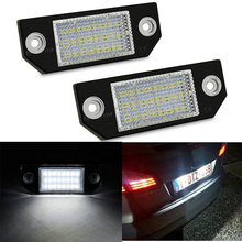 2pcs Car LED License Number Plate Light Lamp White for Ford Focus 2 C-Max Accessories 6W 12V 24 6000K