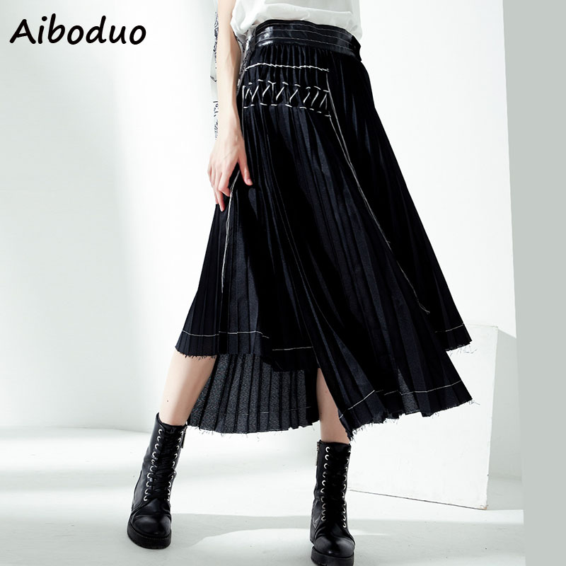 Vintage Streetwear Women Fashion High Waist Pleated Long Asymmetric Skirt Maxi Bottoms for Female Ladies 2019 Autumn Punk Style