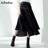 Vintage Streetwear Women Fashion High Waist Pleated Long Asymmetric Skirt Maxi Bottoms for Female Ladies 2019 Autumn Punk Style