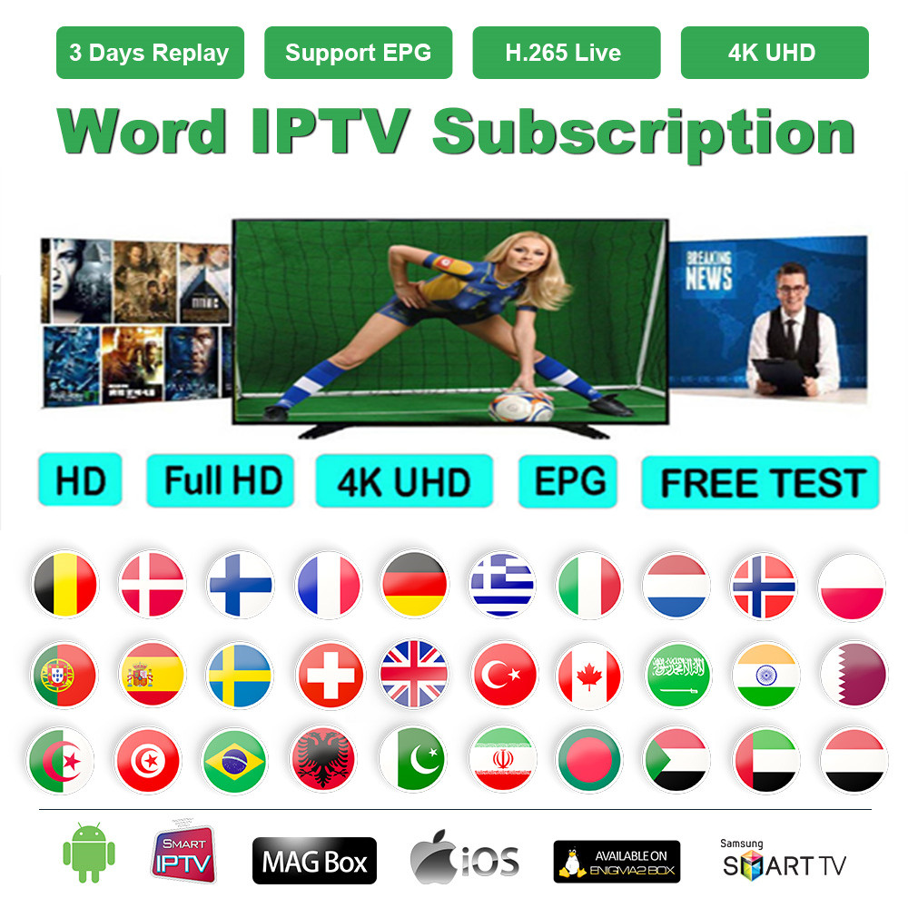 IPTV Subscription For IPTV French Arabic UK Dutch Spain 18+ Adult 8000+ Live 6000+ VOD 4K Qhdtv IPTV M3U Smart TV Full HD