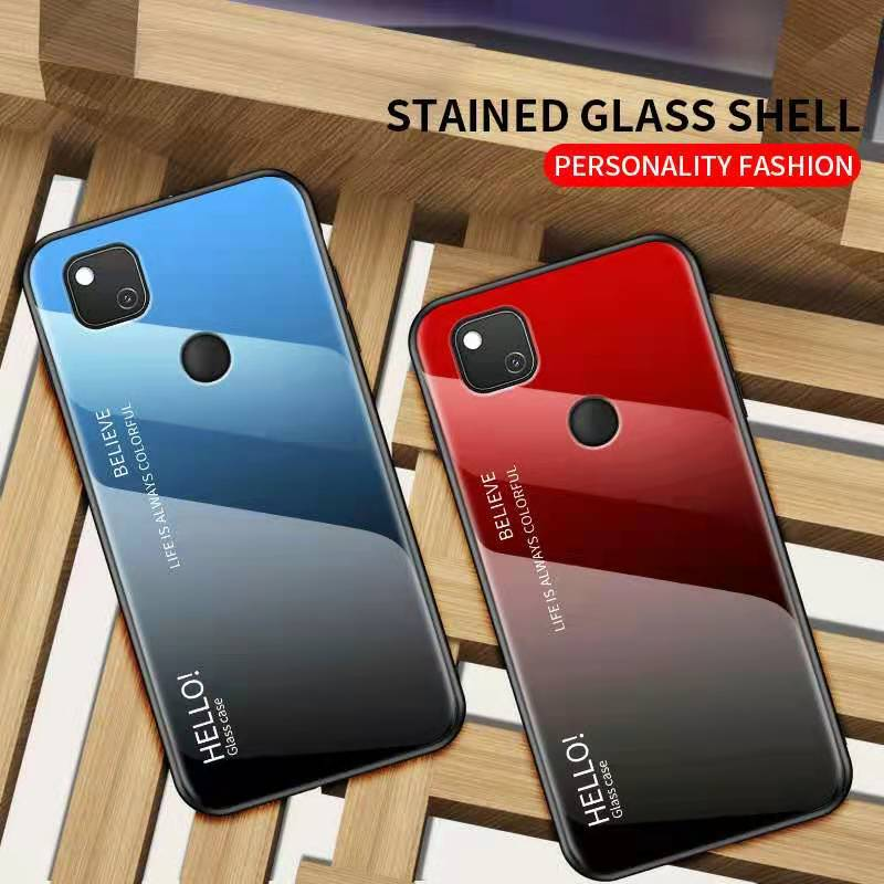 For Goolgle Pixel 5 4A 4 4XL 4A 5G 3A 3XL 2 3 Fashion TPU + Glass Gradiently Colored Anti Falling Glass Mobile Phone Case