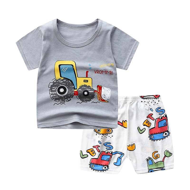 Brand Designer Cartoon Clothing Mickey Mouse Baby Boy Summer Clothes T-shirt+shorts Baby Girl Casual Clothing Sets 5