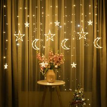 3.5m Lamp String Moon Star Lamp LED Ins Christmas Lights Decoration Holiday Lights Curtain Lamp Wedding Neon Lantern fairy light