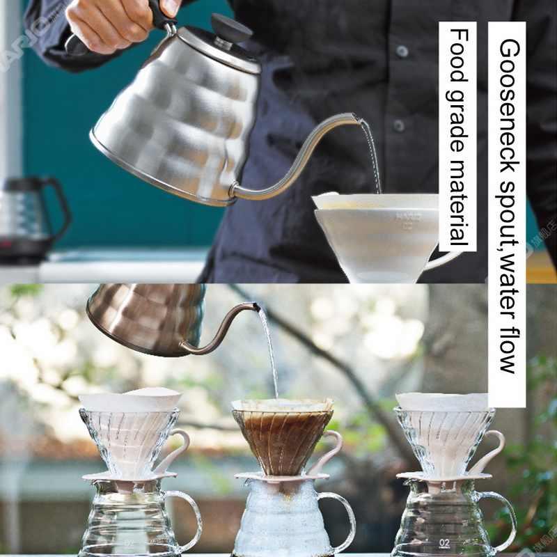 الفولاذ المقاوم للصدأ دورق قهوة Gooseneck غلاية وعاء إبريق الشاي غلاية ماكينة إعداد الشاي زجاجة عالية الجودة المطبخ 1L/1.2L #25