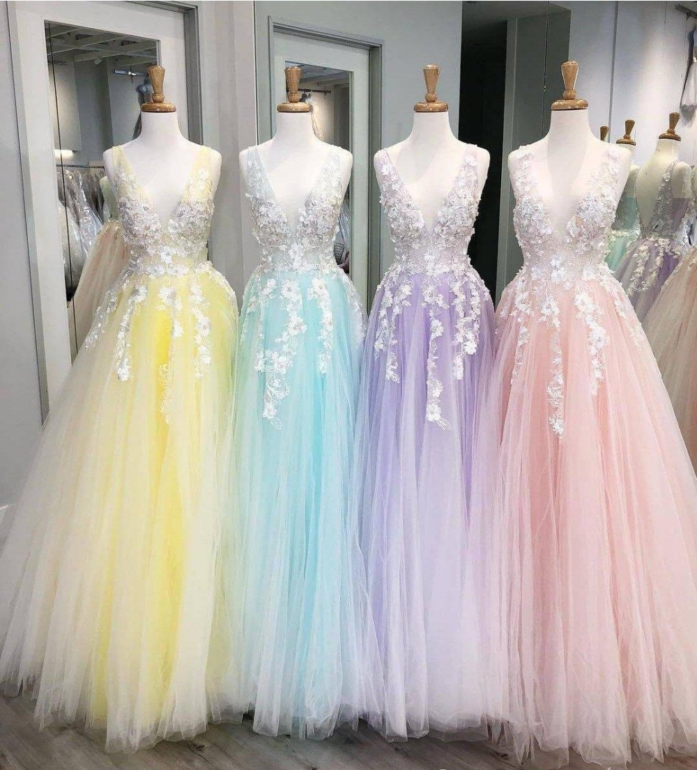 Blush Prom Dress Pink Beaded Lace Applique V-Neck Vestidos De Fiesta Party Evening Graduation Gowns 2019 Ball Gown Long