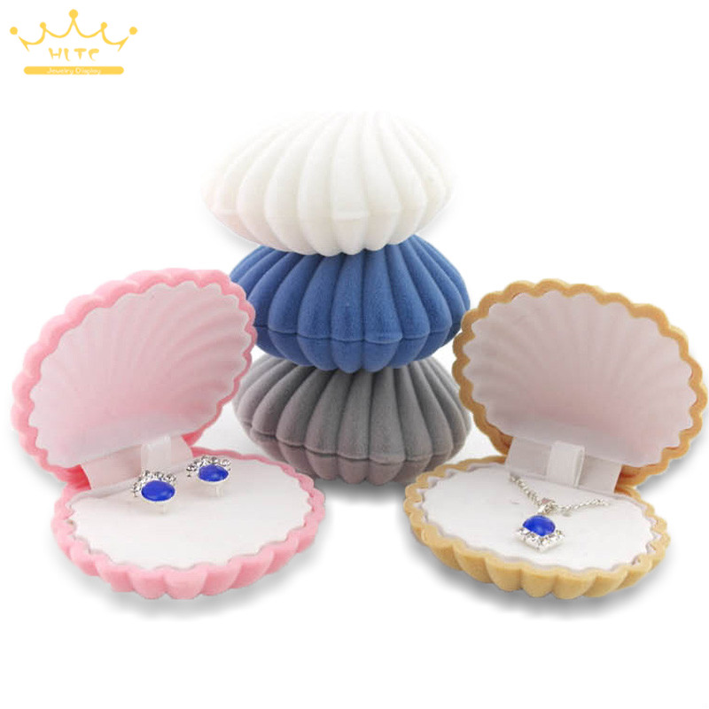 1 Piece Shell Shape Lovely Velvet Wedding Engagement Ring Box For Earrings Necklace Bracelet Jewelry Display Gift Box Holder