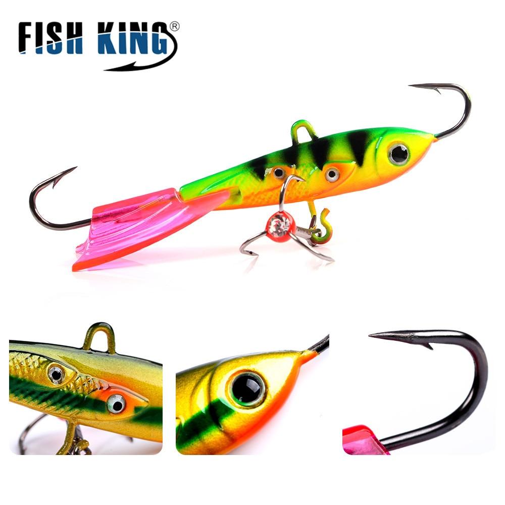 FISH KING 1PC Winter Fishing Lure Ice Fishing Jig Bait 6.3cm/8.5cm 10g/20g Carp Fishing Hooks Lead Hard Lure Pesca Tackle