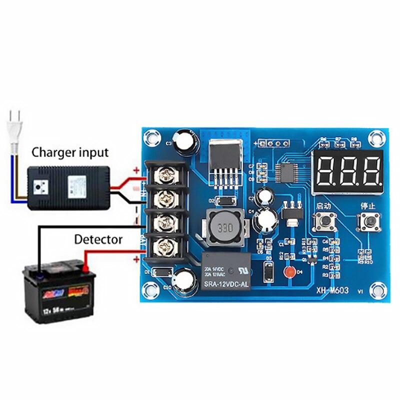 XH-M603 модуль управления зарядкой 12-24 В, литиевый аккумулятор, переключатель управления зарядным устройством, защитная плата светодиодный св...
