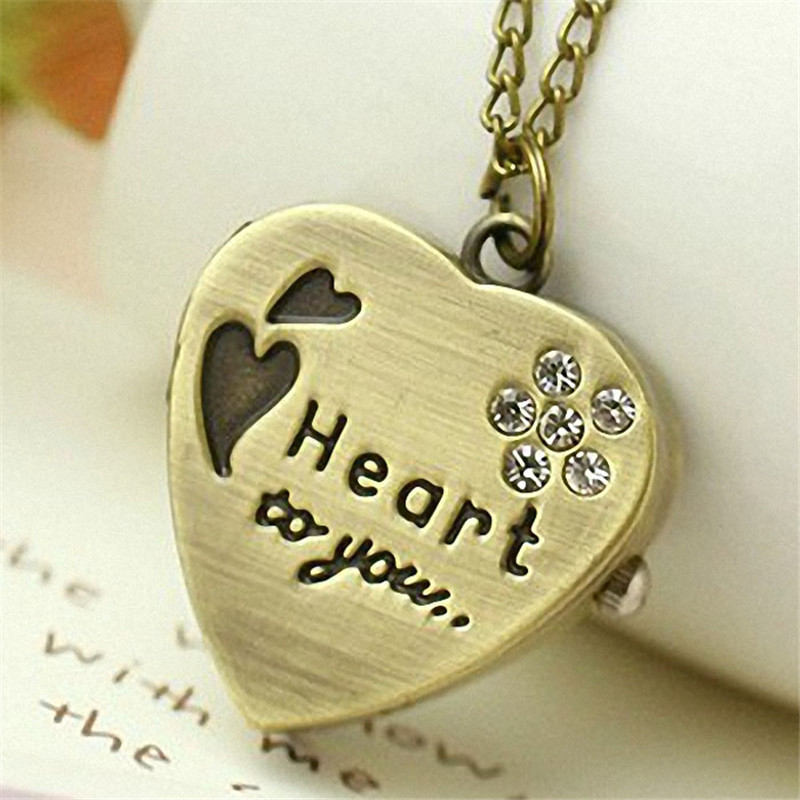 Pocket Watch Love Heart To You Cover Bronze Necklace Chain Necklace Gift To Your Family Lover Friends Reloj De Bolsillo Saat
