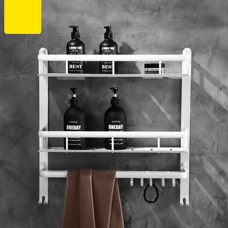 Nordic Space Aluminum White Bathroom Shelves Wall Hanging Storage Shelves Bathroom Hardware Set Corner Shelf Shower Rack