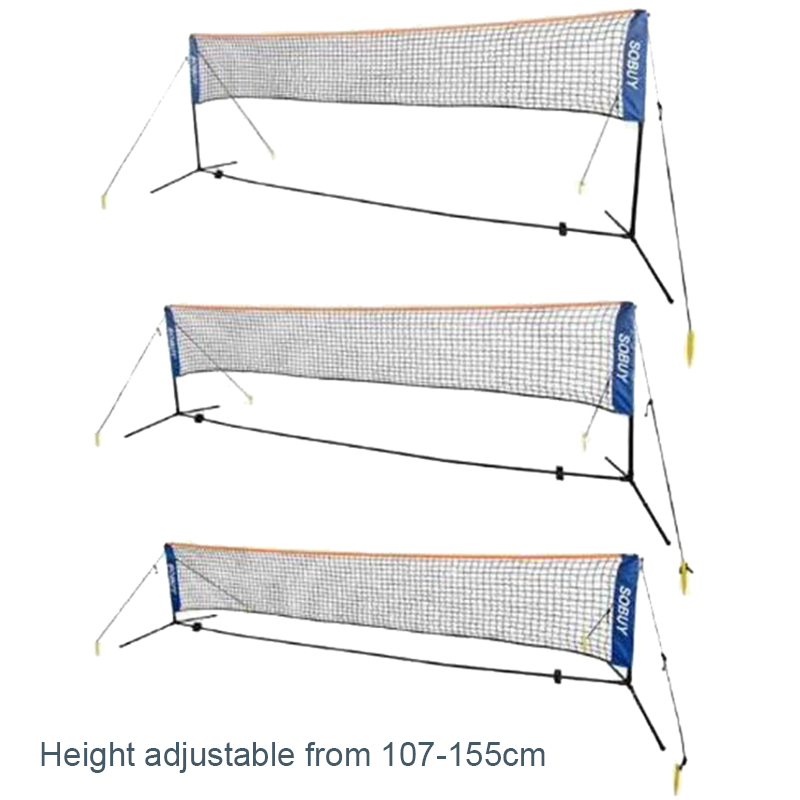 Portable Badminton Net Rack Kit Steel Pipe Battledore Net Set Mid Line Shuttlecock Nets 3.1/4.1/5.1/6.1m