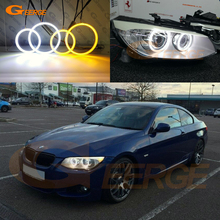 For BMW 3 Series E92 E93 LCI 328i 335i 335is Coupe Ultra bright Dual Color Switchback led angel eyes drl halo ring turn signal pair e92 h8 10w bulb 20w w cree chips angel eye marker led headlight no error for 07 12 bmw e92 328i 335i coupe m3 e93 e89 z4