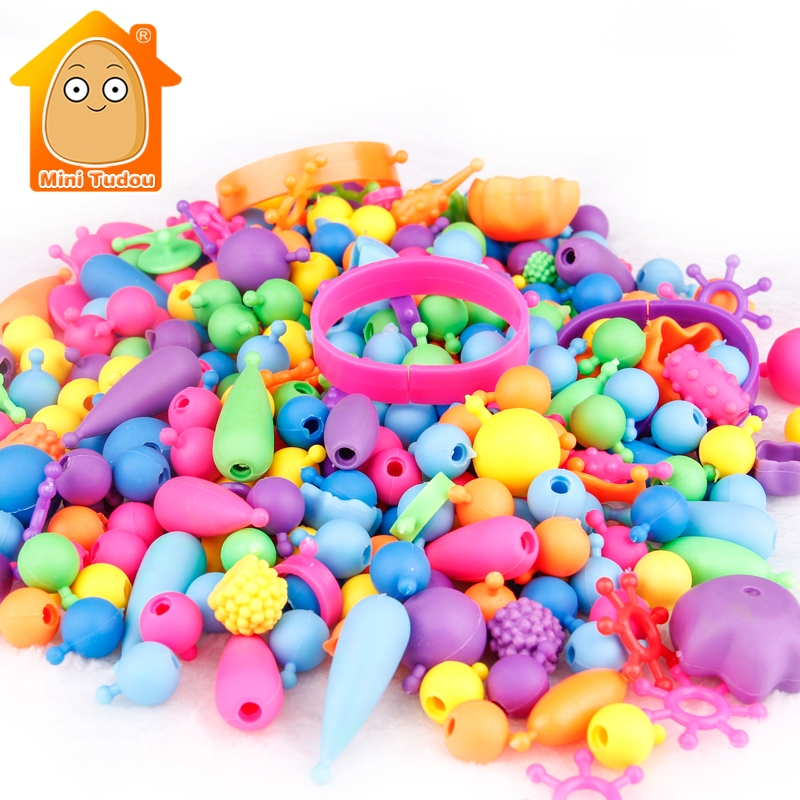 Toys For Girls 300pcs Pop Beads Toys Snap Together Jewelry Fashion Kit DIY Educational Kid's Toy Craft Gifts