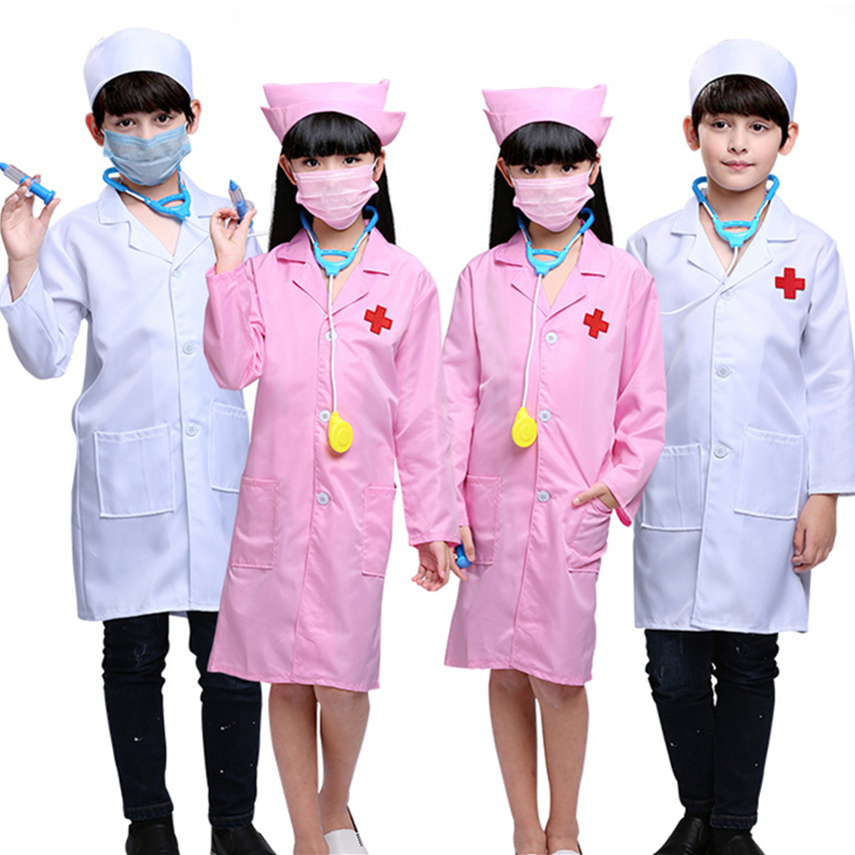 Halloween Disguise For Kids Doctor Nurse Clothing Medical Surgeon Uniform Carnival Family Play House Work Jackets Costumes