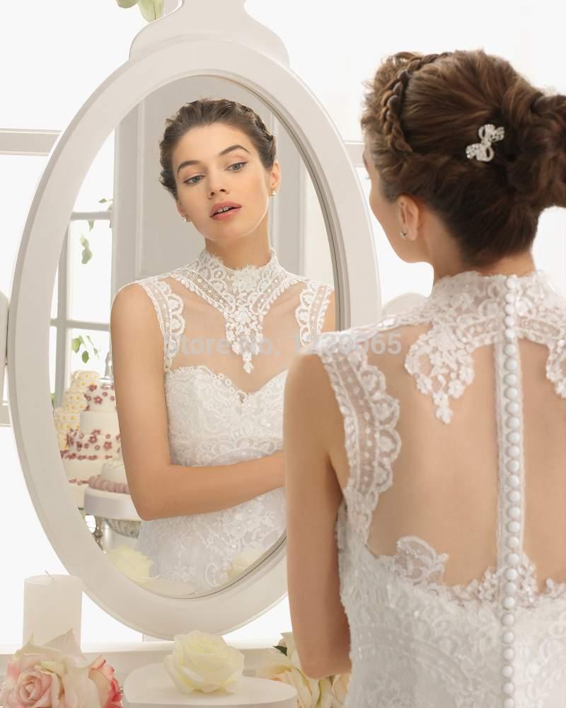 Highneck Lace Wedding Dress 2016 Free Shipping Appliques Vestido De Noiva Casamento Romantic New A-line Tulle Robe De Mariage