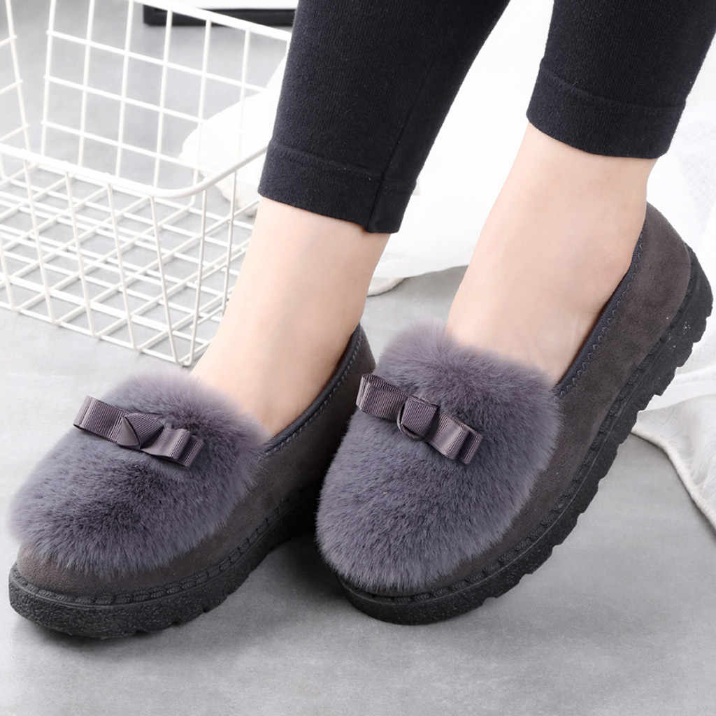 2019 Women's Plush Flats Shoes Autumn Winter Faux Fur Soft Warm Boat Shoes Female Elegant Flat Heel Platform Loafers Plus Size
