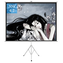 100 inch 4:3 Portable Indoor Outdoor Projector Screen Matte Gray Fabric Fiber Screen With Pull Up Foldable Stand Tripod(China)