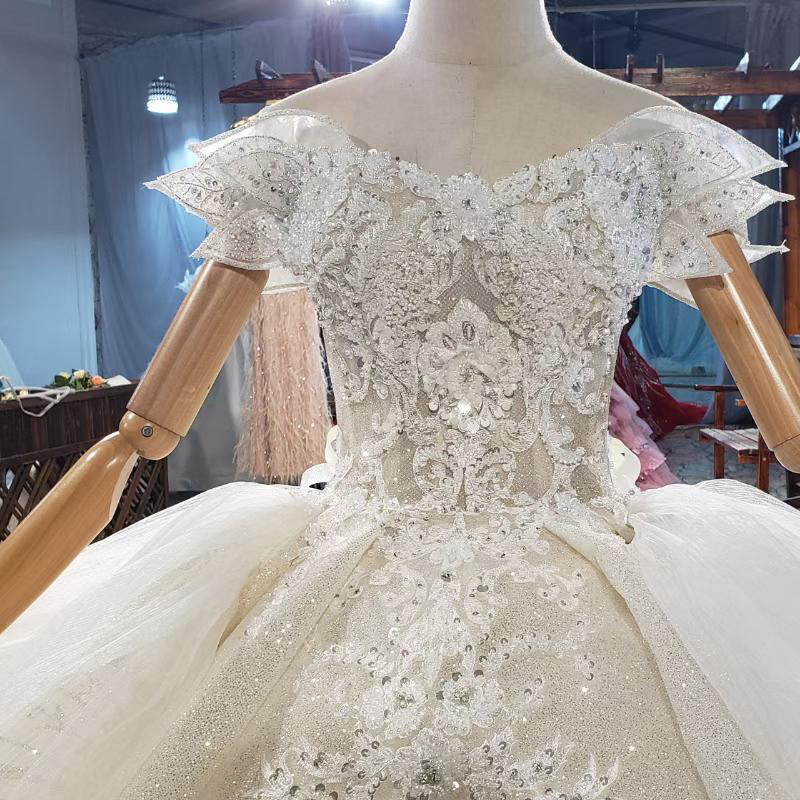 HTL1839 Luxurious Sequined Beading Crystal Pearls Wedding Dress 2020 V-Neck Short Sleeve Ball Gowns 4